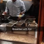 Here we have Epi making omelets for breakfast. I really have to give it to Epi, he is a hard wor