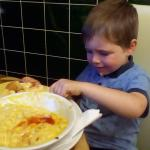 Eoghan enjoying his Macaroni Cheese
