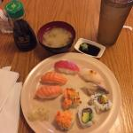 Sushi and fruit and miso soup