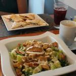 Chicken Caesar Salad, Veggie Quesadillas, Latte, and Sorrel Juice