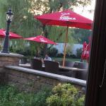 View from table of lake & outside seating