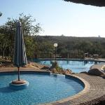 The beautiful swimming pool with slides for the kids and stunning views.