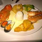 Delicious lobster, squid, mussels, fish and shrimp
