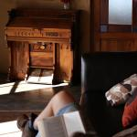 The sunny anteroom next to the bar is a comfortable reading area
