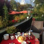 breakfast in the garden looking at the mountains