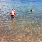 Lovely clear water for grandsons. Along causeway from Alykes