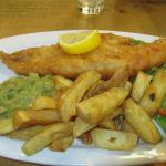 Regular size Battered fish and chips and mushy peas