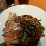Sesame Chicken Teriyaki with vegetables and noodles - YUM!