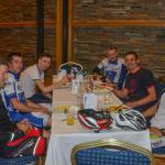 Cyclists appreciating fine fodd at O'Loughlins
