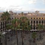 View of Plaça Reial from the terrace restaurant.