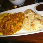 Veggie Curry with Rice and mini  Naan and Chutney