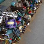Lovers padlocks over the Tumski Bridge