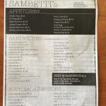Sambetti's Menu