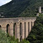 Spoleto aqueduct from hotel Gattapone.