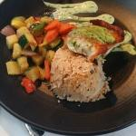 Hubby's special of the day. Wild rice, fish in aoili sauce and fresh veggies