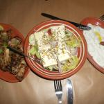 Greek salad and appetizers