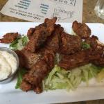 Milano's Cafe and Grill, Nanaimo, B.C. Lunch is Served!  Salt and Pepper dry ribs, Lamb Souvlaki