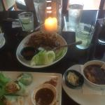 Saigon spring rolls, chicken lettuce wraps and hour and sour soup.