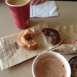 coffee, hot chocolate, and donuts