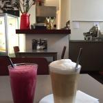 Vegetable juice and latte machiato