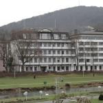 ホテルの前はザール川が流れ、白鳥や鴨が遊んでいるという抜群の環境