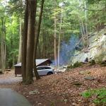 Spruce lean-to, secluded at the end of the campground