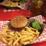 The JB's burger with chips and salad included