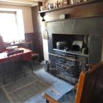 Stove, living and dining area