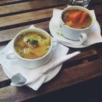 Couscous soup and a falafel sandwich