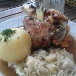 Pork knuckle with sauerkraut and dumpling