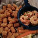 Fireball Shrimp with tater tots