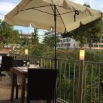 Ravioli, Tagliatelle Salmone and the terrace in the back of restaurant