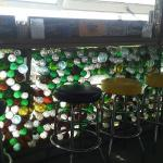 Wall made of wine bottles
