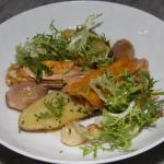 Roasted chantecler chicken, frisée lettuce, roasted onions, baked garlic cloves