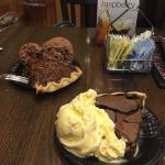 Creme brûlée with donut chunks I e cream and chocolate chess pie.  Chocolate chip pecan pie and