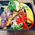Tasty Salmon with roast corn