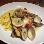 Veal piccata and halibut with clams