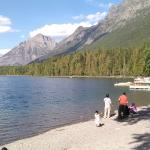 Lake McDonald beach in front of cabins