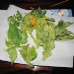 delicate tempura of herbs and leaves