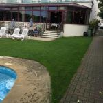 Outdoor seating area for pool and restaurant