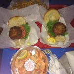 Crab cake sandwiches and a dozen peel & eat shrimp