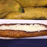 Plantain with white cotija cheese (Platano frito)