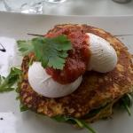 Delicious corn fritters and poached eggs