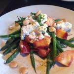 Salad of peaches, green beans, goat cheese, almonds with balsamic drizzle. Delicious!