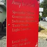Amy Jo's Cafe, Crofton.  Out door signage and information.  Soup special of the day, and article