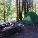 Our campsite next to Wawona. All the things on the table are ours, of course! This site was righ