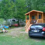 Our cabin, with a trailer in the background