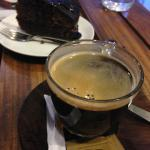 black coffee and chocolate cake