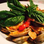 Linguine with clams, spicy red sauce