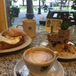 Great egg sandwich and blueberry coffee cake